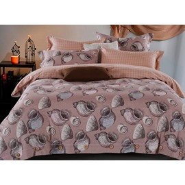 Unique Escargots Print 4-Piece Cotton Duvet Cover Sets