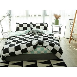 Check Modern Style Cotton 4-Piece Bedding Sets