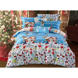 Lovely Christmas Snowman Print 4-Piece Cotton Duvet Cover Sets