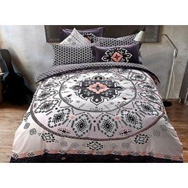 Exotic Style Medallion Print 4-Piece Cotton Duvet Cover Sets