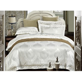 Pretty White Jacquard 4-Piece Duvet Cover Sets