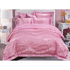 Chic Pink Rose Jacquard 4-Piece Duvet Cover Sets