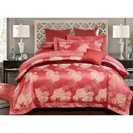 Pretty Peony Jacquard Red 4-Piece Duvet Cover Sets