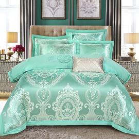 Luxury Turquoise Jacquard 4-Piece Duvet Cover Sets