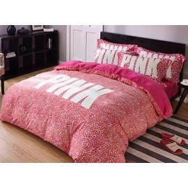 Soft Pink Leopard Print 4-Piece Flannel Duvet Cover Sets