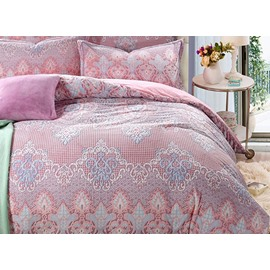 Noble Damask Print 4-Piece Flannel Duvet Cover Sets