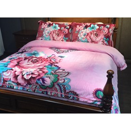 Ethnic Style Peony Print 4-Piece Flannel Duvet Cover Sets