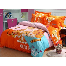 Adorable Leopard Print 4-Piece Cotton Duvet Cover Sets