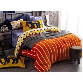 Simple Stripe Print Orange 4-Piece Flannel Duvet Cover Sets
