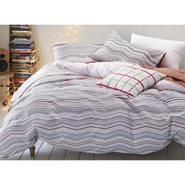 Original Wave Stripe Print 4-Piece Cotton Duvet Cover Sets