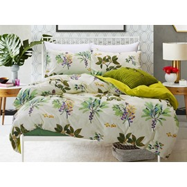 Tropical Plant Print 4-Piece Cotton Duvet Cover Sets