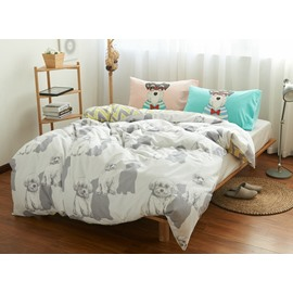 Cute Cartoon Dog Print 4-Piece Cotton Duvet Cover Sets