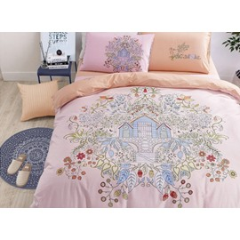 Doodle Art Flowers and House Print 4-Piece Cotton Duvet Cover Sets