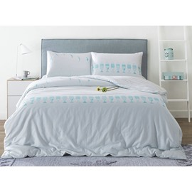 Chic Fish Print White 4-Piece Cotton Duvet Cover Sets