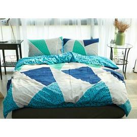 Chic Geometric Design Blue 4-Piece Cotton Duvet Cover Sets
