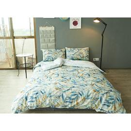 Chic Leaves Print 100% Cotton 4-Piece Duvet Cover Sets