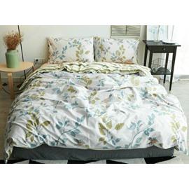 Luxurious Leaves Print Thick Cotton 4-Piece Duvet Cover Sets