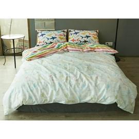 Lovely Doodle Whale Print 4-Piece Cotton Duvet Cover Sets