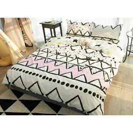 Fresh Style Stripe Print Reversible 4-Piece Cotton Duvet Cover Sets