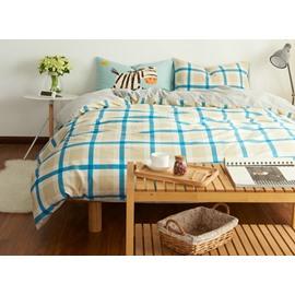 Unique Blue Plaid Print 4-Piece Cotton Duvet Cover Sets