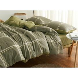 Neutral Plaid Design 4-Piece Cotton Duvet Cover Sets