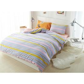 Colorful Stripe Print 4-Piece Cotton Duvet Cover Sets