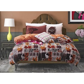 Rural Style Tribe Totem Print 4-Piece Cotton Duvet Cover Sets
