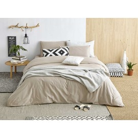 Naturally Stylish Sanded Cotton Camel 4-Piece Duvet Cover Sets