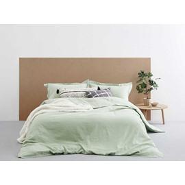 Fresh Solid Green Linen 4-Piece Duvet Cover Sets