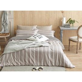 Neutral Stripe Print 4-Piece Cotton Duvet Cover Sets