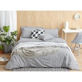 Durable Gray Stripe Print 4-Piece Cotton Duvet Cover Sets