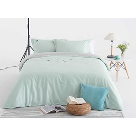 Adorable Swallow Embroidery Light Green 4-Piece Cotton Duvet Cover Sets