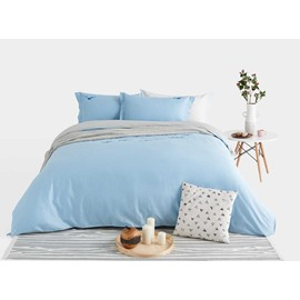 Wild Goose Embroidery Blue 4-Piece Cotton Duvet Cover Sets