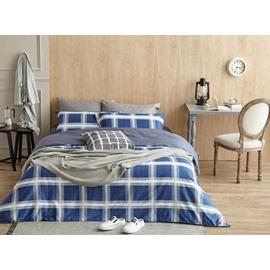 Unique Navy Blue Plaid Print 4-Piece Cotton Duvet Cover Sets