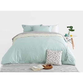 Fresh Green Snail Embroidery 4-Piece Cotton Duvet Cover Sets