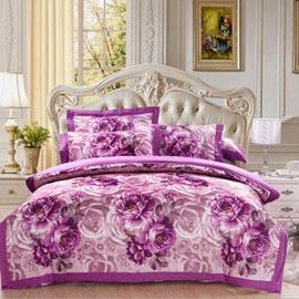 Splendid Rose and Peony Print Purple 4-Piece Cotton Duvet Cover Set