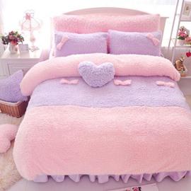 Sweet Pink and Purple Color Block 4-Piece Velvet Duvet Cover Set