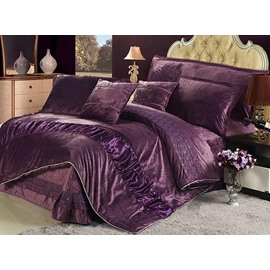 Super Softy 4-Piece Suede Dark Purple Duvet Cover Sets