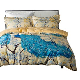 Designer 60S Brocade Blue Peacock and Branches Luxury 4-Piece Cotton Bedding Sets/Duvet Cover