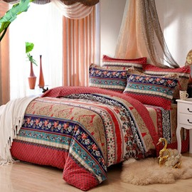 Colorful Bohemia Stripes Print Exotic Style Cotton 4-Piece Bedding Sets/Duvet Cover