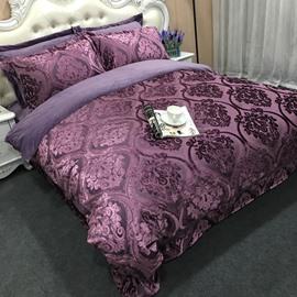 Fancy Jacquard Coral Fleece Thick 4-Piece Bedding Sets/Duvet Cover