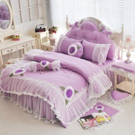 Romantic Lace Edging Purple 4-Piece Cotton Duvet Cover Sets