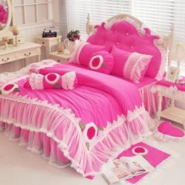 Exquisite Lace Rosy 4-Piece Cotton Duvet Cover Sets