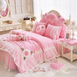Flower Pattern Lace Edging Princess Style 4-Piece Pink Duvet Covers/Bedding Sets