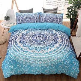 Bohemian Style Mandala Print Blue Gradient Polyester 3-Piece Bedding Sets/Duvet Cover