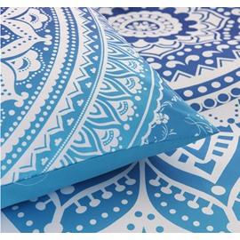 Bohemian Mandala Print Blue Ombre Polyester 3-Piece Bedding Sets