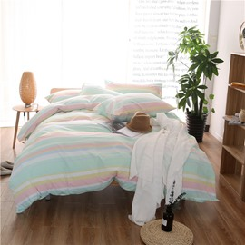 Colorful Stripes Print Modern Simple Style Cotton 4-Piece Bedding Sets
