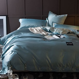 Solid Light Blue Luxury Style Silky 4-Piece Bedding Sets/Duvet Cover