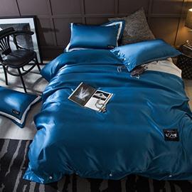 Ocean Solid Dark Blue Luxury Style Silky 4-Piece Bedding Sets/Duvet Cover