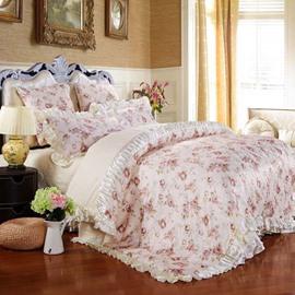 Floral Pattern Pastoral Style Beige 6-Piece Cotton Sateen Bedding Sets/Duvet Cover